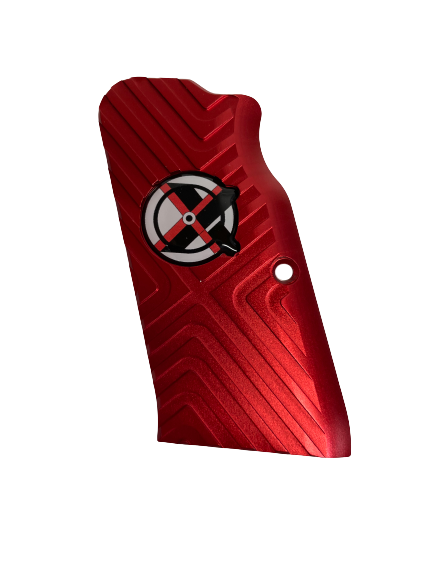 Tanfoglio: Red Aluminum Grips Large Frame with out Magwell (X016)